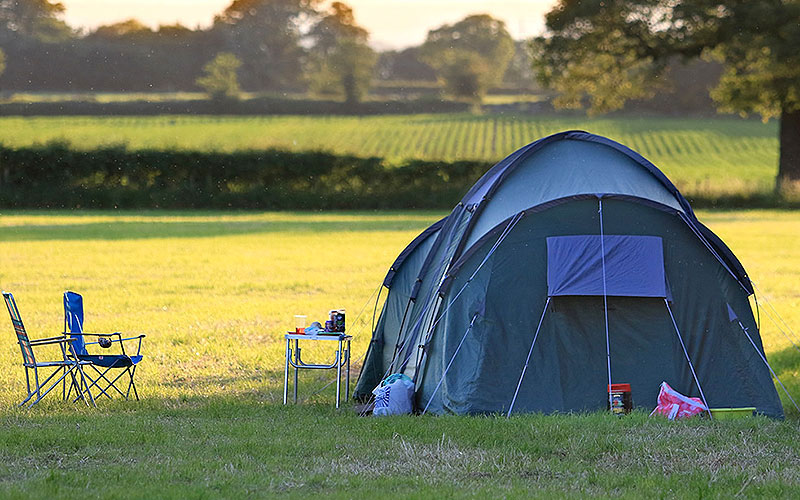 The beautiful camping and caravan site is situated on the Bolesworth Castle.